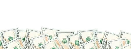 Photo pour US dollar border isolated on white background. 100 bills money cash - image libre de droit