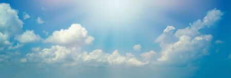 Photo for Blue sky clouds background. Beautiful landscape with clouds and sun - Royalty Free Image