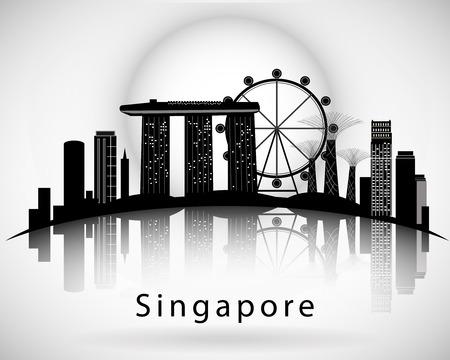 Illustration pour Modern Singapore City Skyline Design - image libre de droit