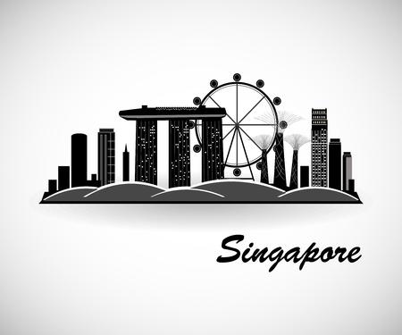 Illustration pour Singapore City Skyline Design - image libre de droit