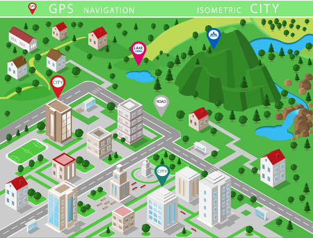 Illustration pour Isometric landscapes with city buildings, village, roads, parks, plains, hills, mountains, lakes, rivers and waterfall. Set of detailed city buildings. 3d isometric map with gps navigation - image libre de droit