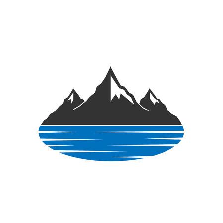 Illustration pour Mountains behind blue lake icon - image libre de droit