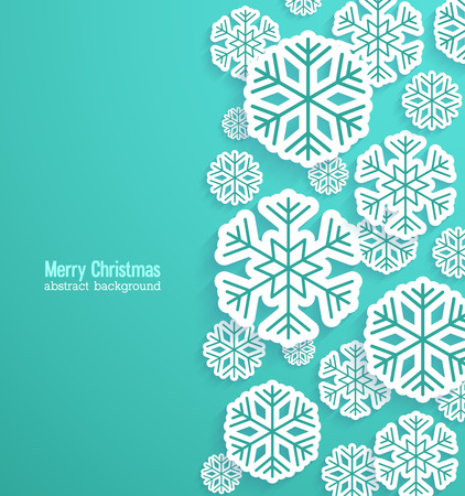 Illustration for Christmas background with paper snowflakes. Vector illustration. - Royalty Free Image