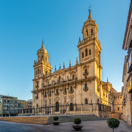 Photo pour View at the Cathedral of Jaen at the Santa Maria place in Spain - image libre de droit