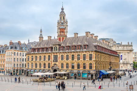 Photo for LILLE,FRANCE - MAY 19,2018 - Building of Bourse at the Grand place in Lille. Lille  is a city at the northern tip of France, in French Flanders. - Royalty Free Image