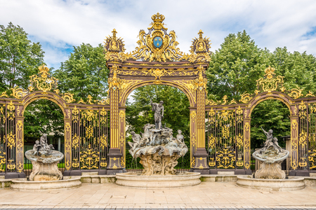 Photo for View at the Neptun Fountain at the Place of Stanislas in Nancy, France - Royalty Free Image