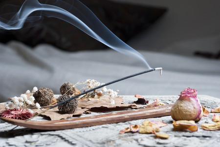 Photo for Incense stick on wooden table - Royalty Free Image