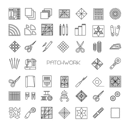 Illustration pour Patchwork  line icons set. Quilting supplies and accessories. Quilt fabric kit, patch, needle, thread, scissors, cloth, sewing machine, pin, template, ruler, rotary cutter. Vector illustration. - image libre de droit