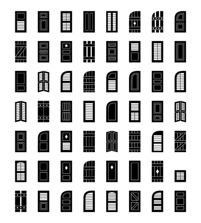 Illustration for Shutters. Plantation, panel, tier on tier, bahama & louvered window coverings. Decorative exterior blinds. Board & batten shades. Front view. Flat icon collection. - Royalty Free Image