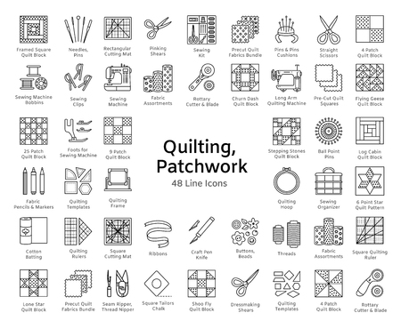 Illustration for Quilting & patchwork. Supplies and accessories for sewing quilts from fabric squares & blocks. Different tools, patterns for quilters. Vector line icon set. Isolated objects on white background. - Royalty Free Image
