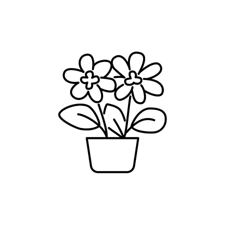 Illustration pour Black & white vector illustration of flowering plant with flowers, leaves in pot. Decorative home plant in container. Potted houseplant for office. Isolated object on white background. - image libre de droit