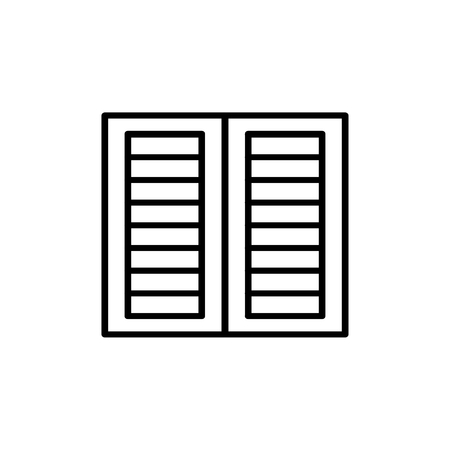 Illustration for Black & white illustration of old louver window shutter. Vector line icon of wooden vintage outdoor jalousie. Isolated object on white background - Royalty Free Image