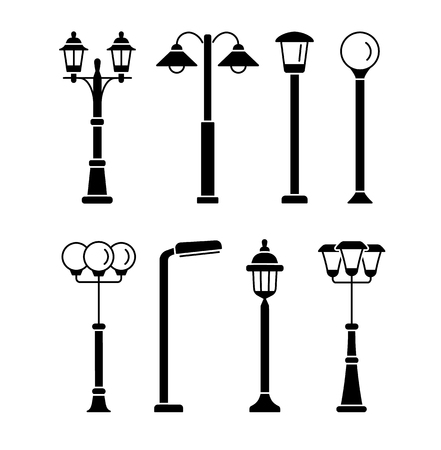 Illustrazione per Street lights. Outdoor park & garden lighting.  Vector flat icon set. Isolated on white background - Immagini Royalty Free