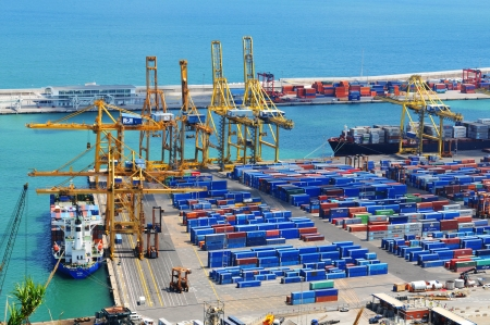 Barcelona, Spain - 05 July, 2012: Aerial view of harbour with cargo containers waiting to be loaded