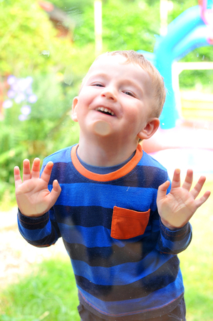 Portrait of a child pulling faces