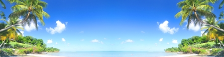 Photo for Tropical island horizontal banner - Royalty Free Image
