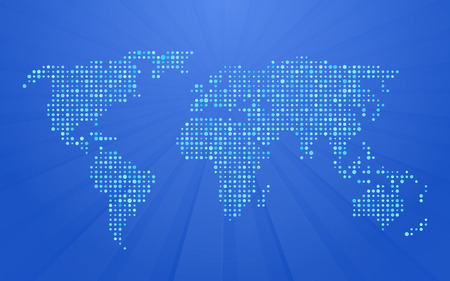 Illustration pour world map made up of small polka dots on blue background with rays - image libre de droit