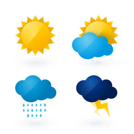 Illustration pour Icons for weather with sun and cloud motif - image libre de droit