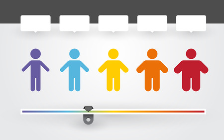 Illustrazione per colorful characters with different weight and BMI indicator - Immagini Royalty Free