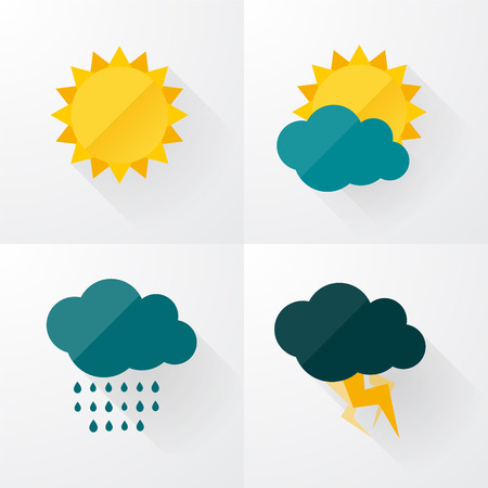 Illustration pour Weather icons with long shadows - image libre de droit