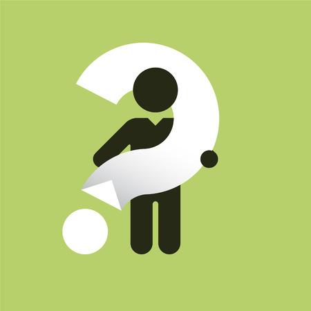 Illustration pour Simple black silhouette of a man with a big white question mark - image libre de droit