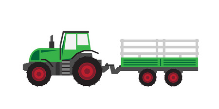 Illustration pour green tractor with trailer - image libre de droit