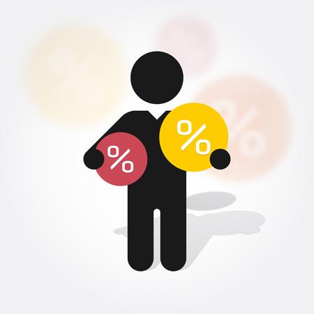 Illustration pour figure man holds symbol percent discounts - image libre de droit