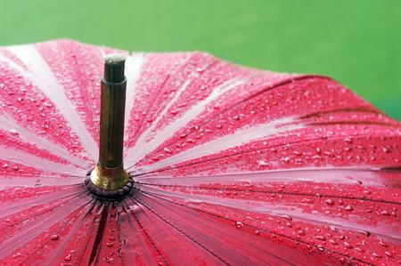 closeup of wet umbrella with rain drops