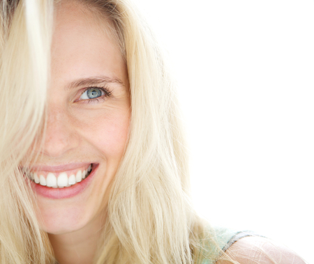 Photo for Close up portrait of a smiling blond woman  - Royalty Free Image