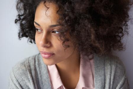Photo pour Close up portrait of one attractive african american woman - image libre de droit