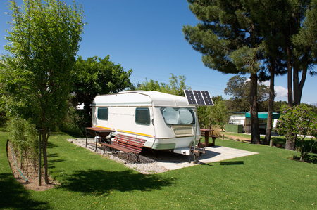 Photo for Caravan in a relaxing nature camp site - Royalty Free Image