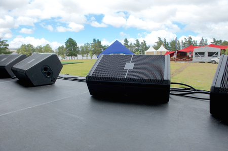 Photo for On stage before music festival. Black speaker monitors - Royalty Free Image