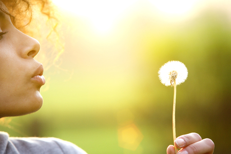 Photo for Close up portrait of a young woman blowing dandelion flower outdoors - Royalty Free Image