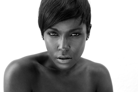 Close up black and white portrait of a sexy african american woman