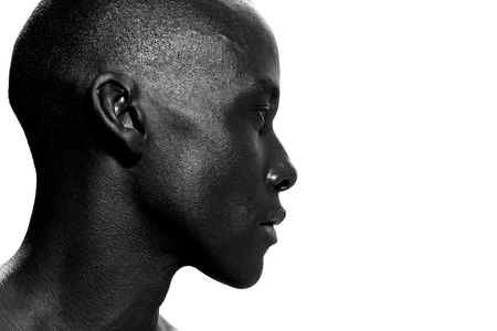 Foto de Close up side portrait of african american man staring - Imagen libre de derechos
