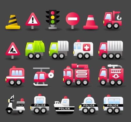 Photo pour cartoon car,vehicle, transportation,emergency icon set  - image libre de droit