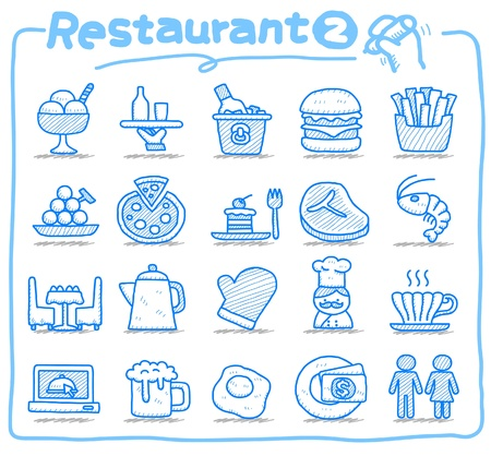 Hand drawn Restaurant Icon set