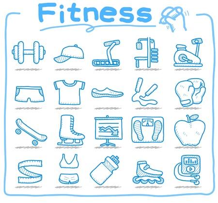 hand drawn fitness icon set