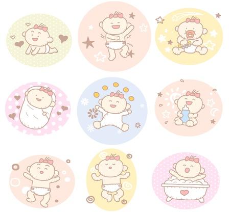 Photo pour Hand drawn baby girl collection - image libre de droit