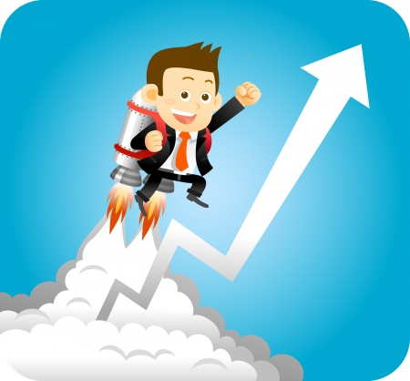 Illustration for Businessman with launching rocket and growing arrow  - Royalty Free Image
