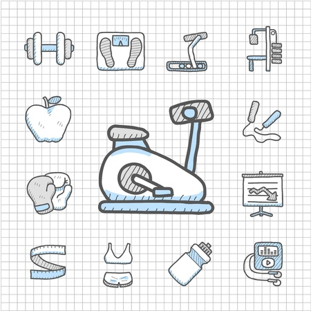 Spotless series   hand drawn fitness icon set