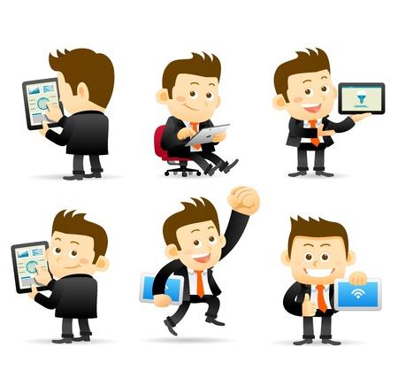 Illustration for Elegant People Series -Businessman   tablet pc - Royalty Free Image