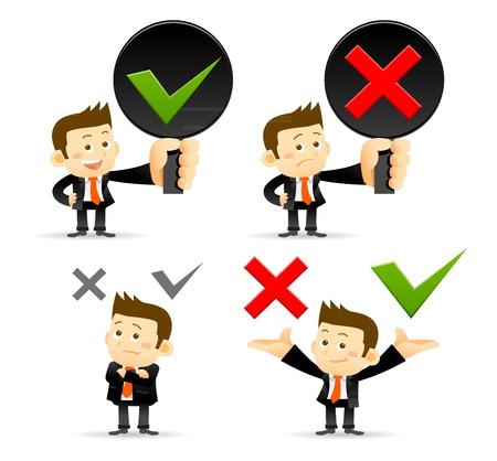 Illustration pour Businessman   yes ,no sign - image libre de droit