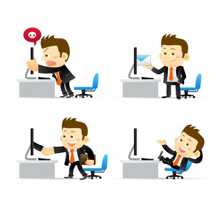 Illustration for Businessman at computer - Royalty Free Image