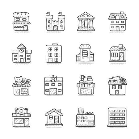 Illustration pour Vector illustration - Hand drawn building icon set - image libre de droit