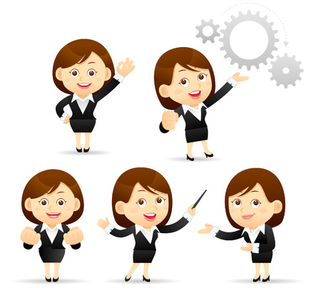 Illustration pour Vector Illustration of cartoon businesswoman set - image libre de droit