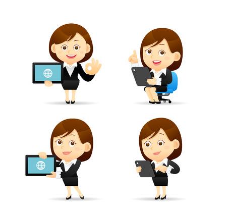 Illustration pour Vector illustration - Businesswoman character holding tablet pc - image libre de droit