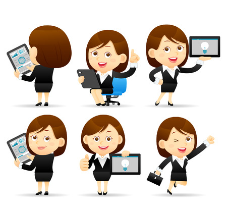 Illustration pour Vector illustration - Businesswoman character holding tablet pc - image libre de droit