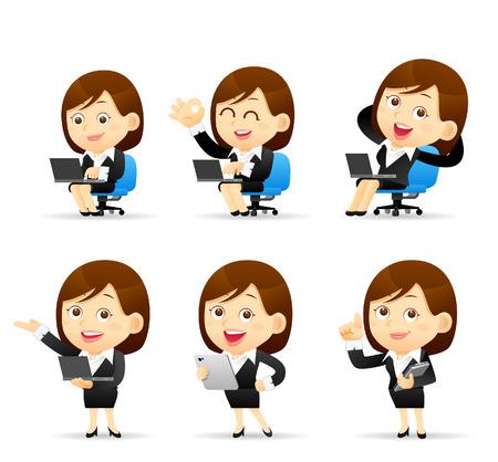 Illustration pour Vector illustration - Set of Businesswoman with computer - image libre de droit