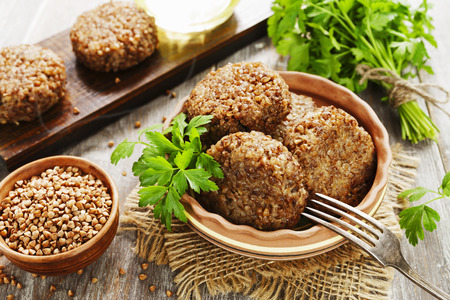 Photo for Vegetarian cutlets of buckwheat on the plate - Royalty Free Image